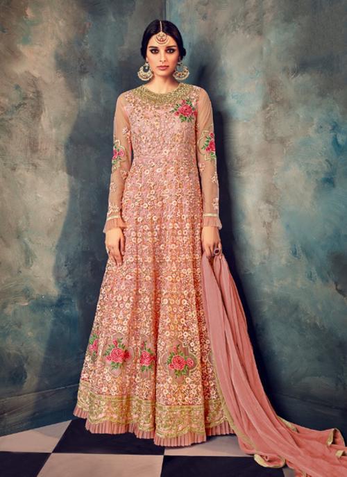 Wedding Wear Peach Net Embroidery Work Anarkali Style