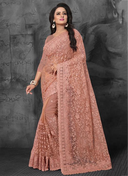 Wedding Wear Peach Net Embroidery Work Saree