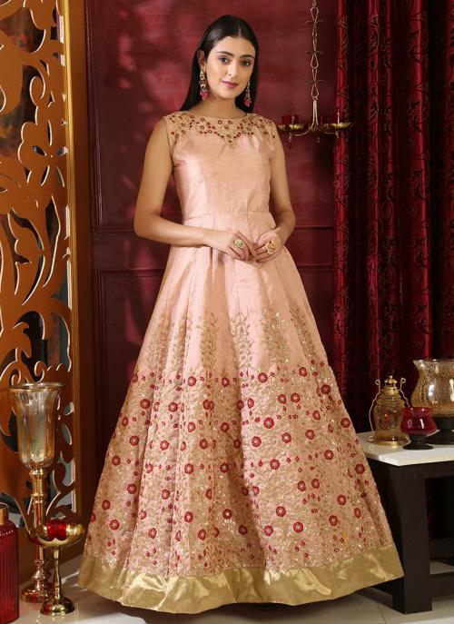 Wedding Wear Peach Silk Cutdana Work Gown