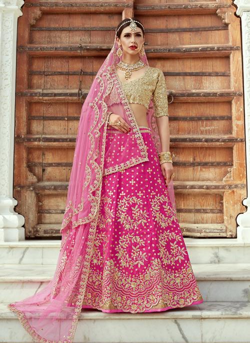 Wedding Wear Pink Art Silk Sequins Work Lehenga Choli