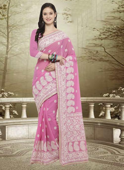 Wedding Wear Pink Georgette Embroidery Work Saree
