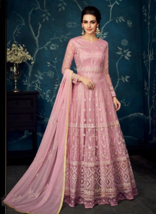 Wedding Wear Pink Georgette Net Embroidery Work Anarkali Suit