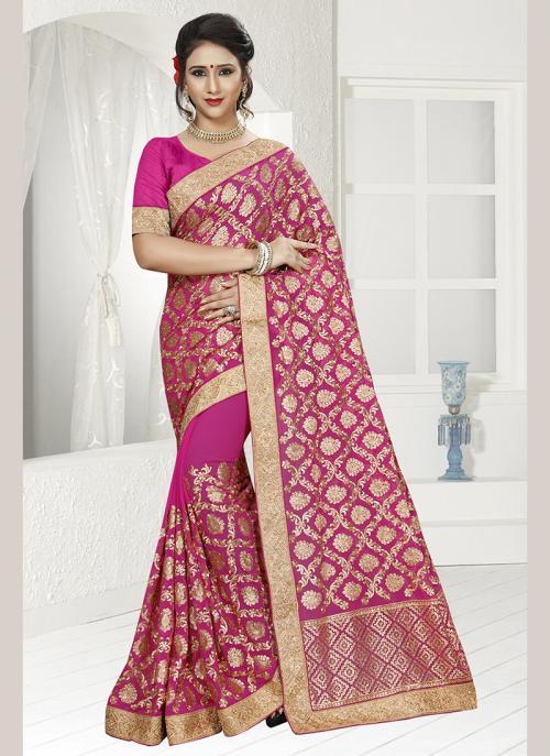 Wedding Wear Pink Georgette Resham Work Saree