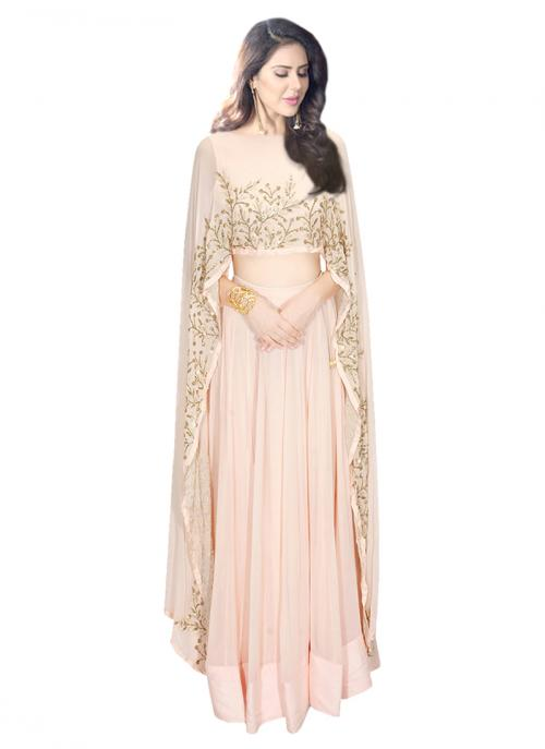 Wedding Wear Pink Georgette Zardosi Work Prathyusha Garimella Designer Cape Top With Lehenga Skirt