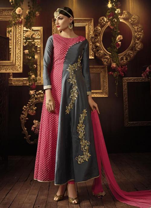 Wedding Wear Pink, Grey Taffeta Silk, Georgette Embroidered Work Anarkali Suit