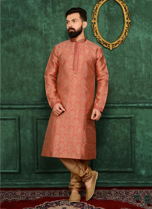 Wedding Wear Pink Jacqaurd Silk Lace Work Kurta Pajama