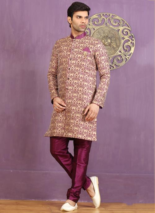 Wedding Wear Pink Jacquard Embroidered Work Sherwani