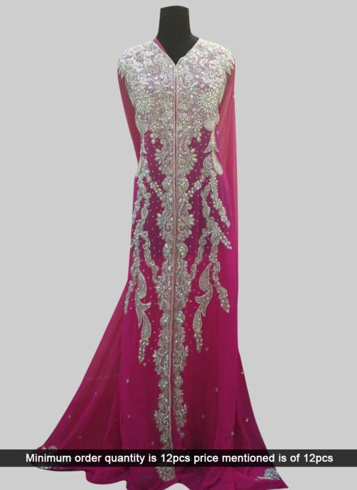 Wedding Wear Pink Laser Hand Work Kaftan