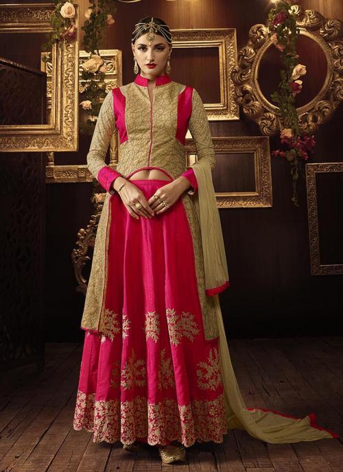 Wedding Wear Pink Net Embroidered Work Anarkali Suit