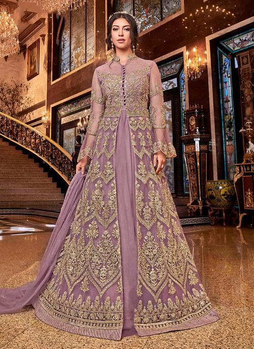 Wedding Wear Pink Net Embroidery Work Anarkali Suit