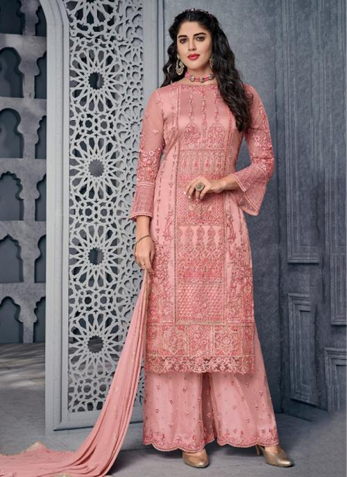 Wedding Wear Pink Net Embroidery Work Palazzo Suit