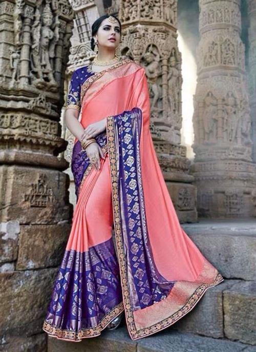 Wedding Wear Pink Silk Border Work Saree