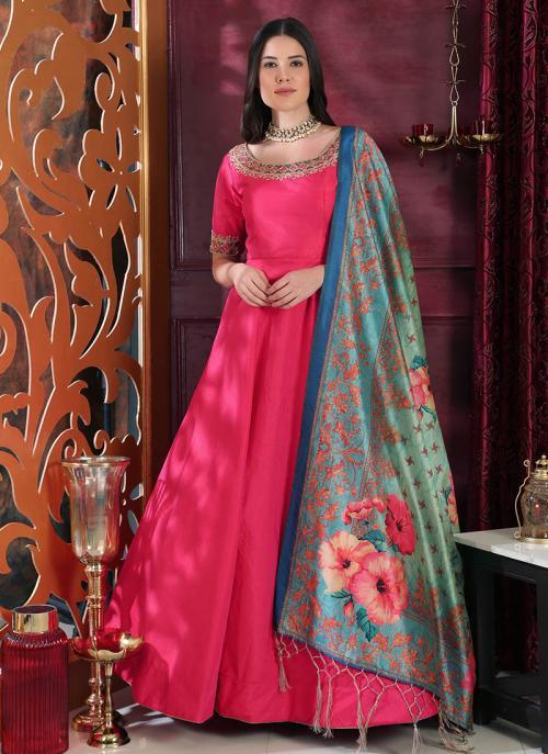Wedding Wear Pink Silk Cutdana Work Gown