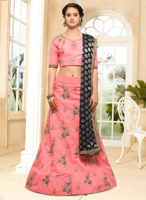 Wedding Wear Pink Silk Embroidery Work Lehenga Choli