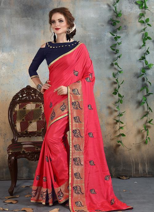 Wedding Wear Pink Silk Zari Embroidery Work Saree