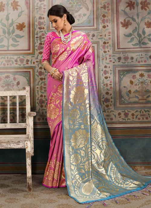 Wedding Wear Pink Silk Zari Work Saree