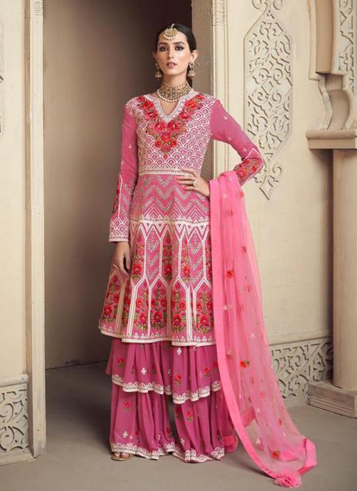 Wedding Wear Pink Viscose Upada Embroidery Work Sharara Style