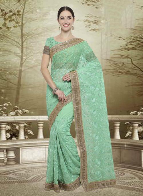 Wedding Wear Pista Green Georgette Embroidery Work Saree