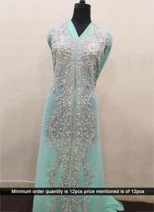 Wedding Wear Pista Green Laser Hand Work Designer Kaftan
