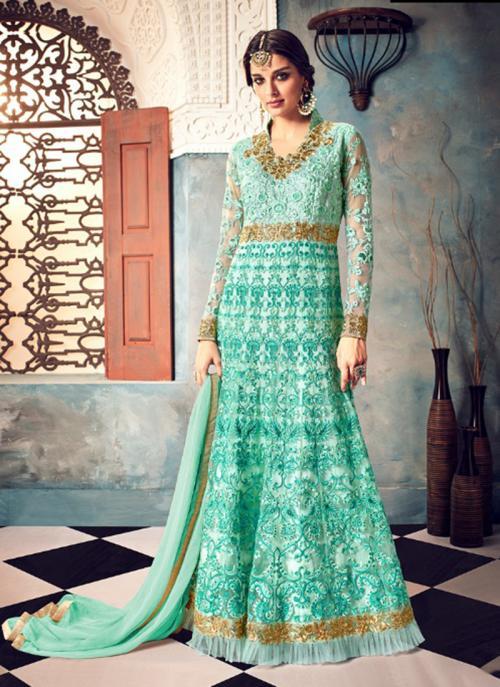 Wedding Wear Pista Green Net Embroidery Work Anarkali Style