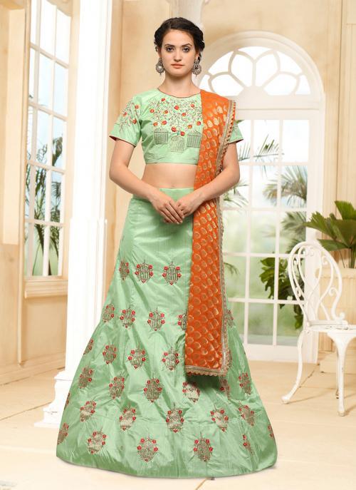 Wedding Wear Pista Green Silk Embroidery Work Lehenga Choli