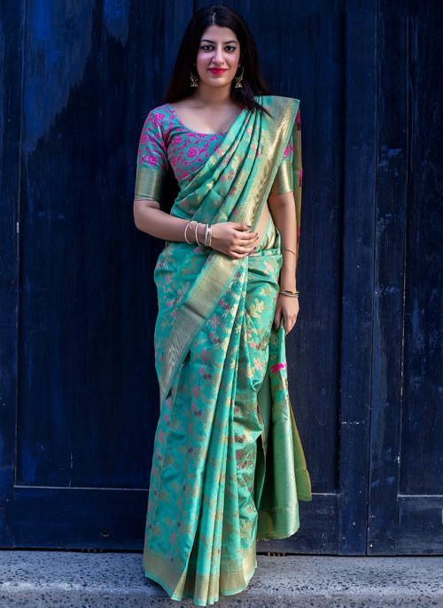 Wedding Wear Pista Green Silk Embroidery Work Saree
