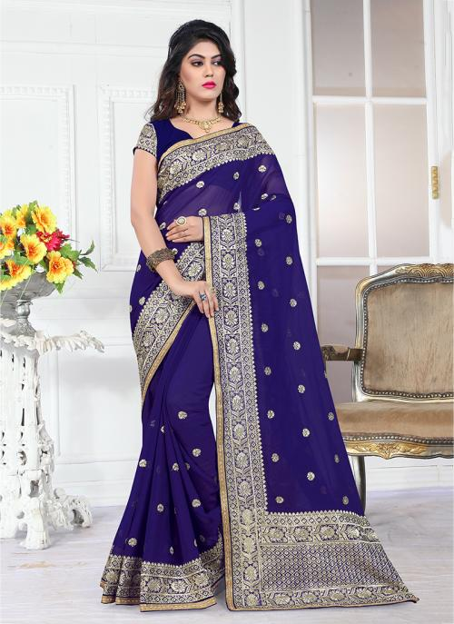 Wedding Wear Purple Georgette Heavy Embroidery Border Work Saree