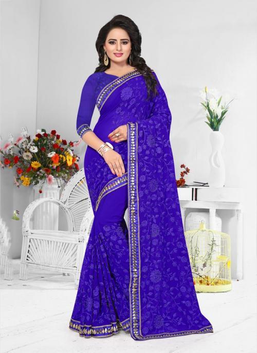 Wedding Wear Purple Georgette Resham Work Saree
