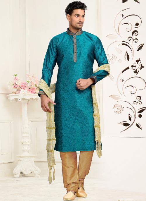 Wedding Wear Rama Colour Art Silk Embroidered Work Churidar Sherwani