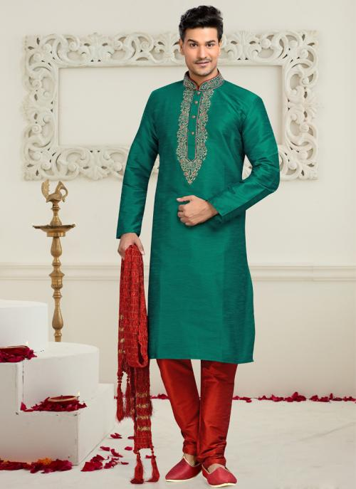 Wedding Wear Rama colour Dhupion Embroidered Work Churidar Sherwani