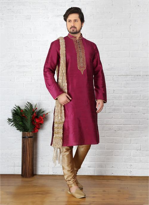 Wedding Wear Rani Art Silk Embroidery Work Sherwani Style