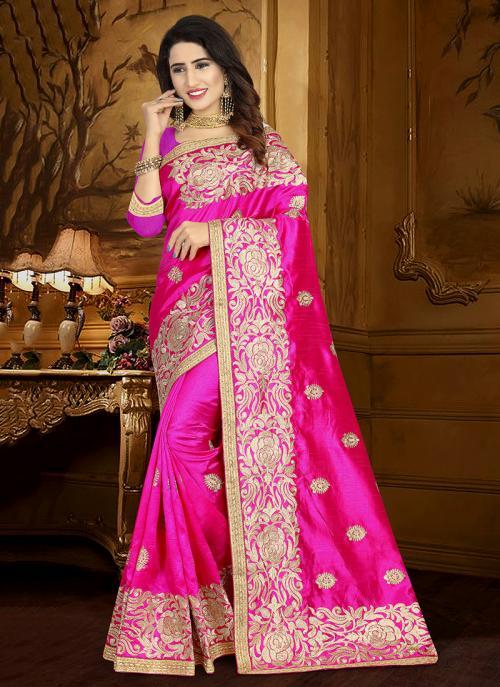 Wedding Wear Rani Art Silk Heavy Embroidery Work Saree