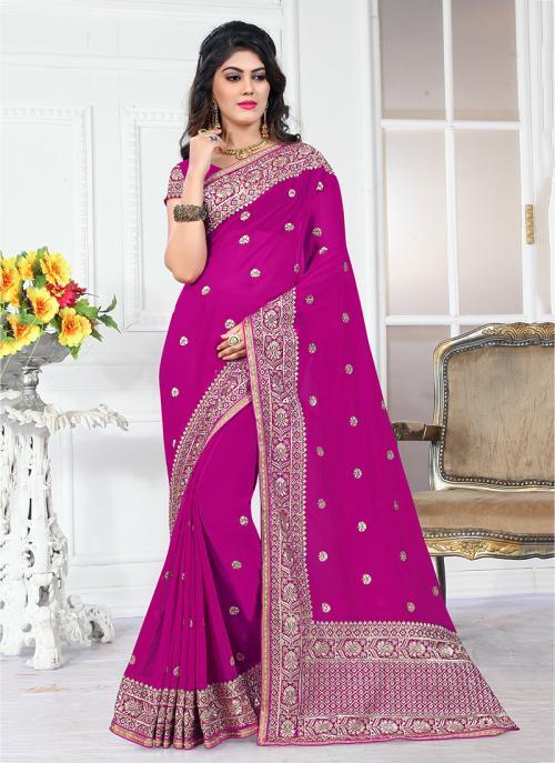 Wedding Wear Rani Georgette Heavy Embroidery Border Work Saree