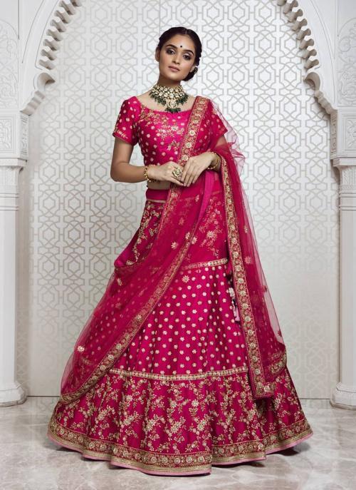 Wedding Wear Rani Silk Embroidery Work Lehenga Choli