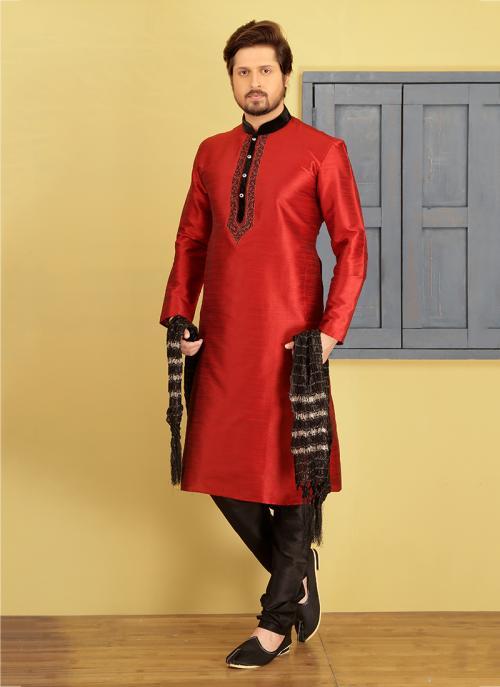 Wedding Wear Red Art Silk Embroidery Work Sherwani
