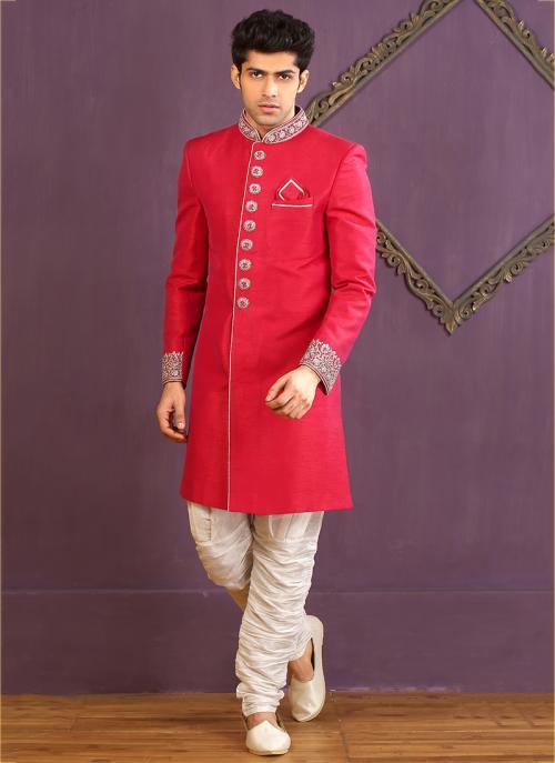 Wedding Wear Red Banarasi Silk Embroidered Work Sherwani