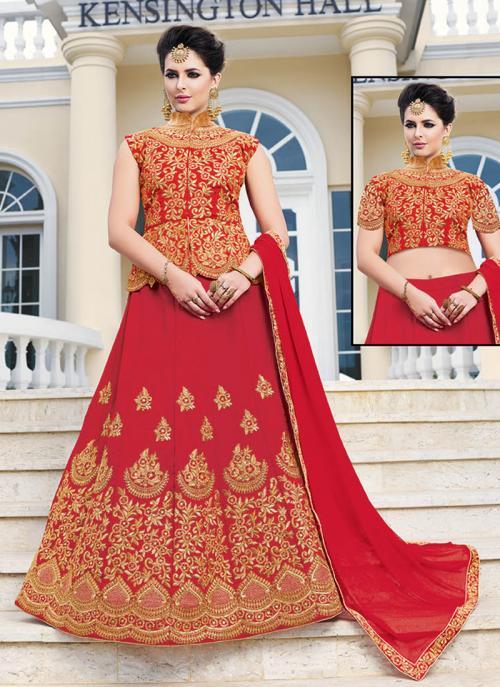 Wedding Wear Red Banglori Silk Embroidery Work Long Choli Style Lehenga