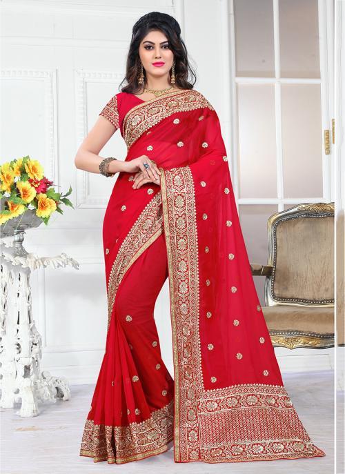 Wedding Wear Red Georgette Heavy Embroidery Border Work Saree