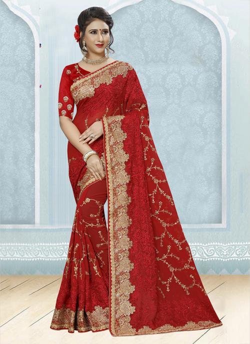 Wedding Wear Red Georgette Resham Work Saree