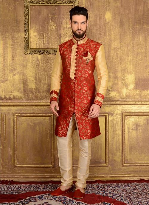 Wedding Wear Red Jacqaurd Embroidery Work Sherwani