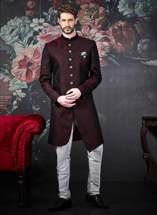 Wedding Wear Red Jacquard Weaving Indowestern Sherwani