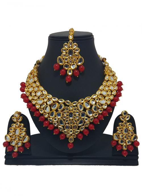 Wedding Wear Red Kundan Stone Work Necklace