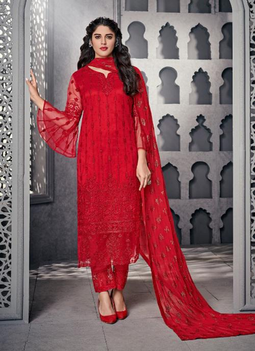 Wedding Wear Red Net Embroidery Work Straight Suit