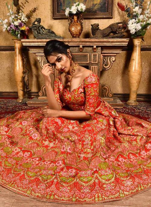 Wedding Wear Red Silk Resham Work Lehenga Choli