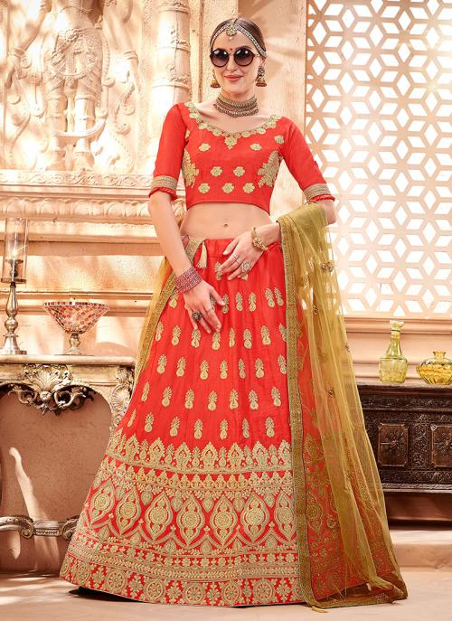 Wedding Wear Red Silk Zari Butta Work Lehenga Choli