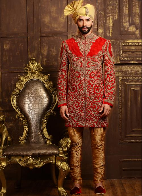 Wedding Wear Red Velvet Heavy Embroidery Work Sherwani