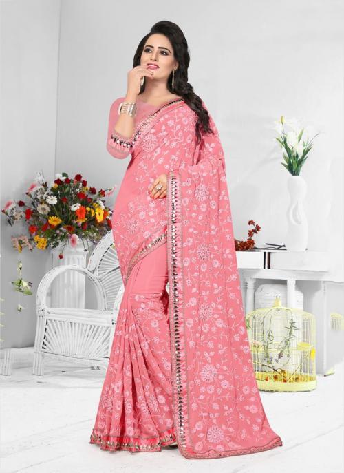 Wedding Wear Rose Pink Georgette Resham Work Saree