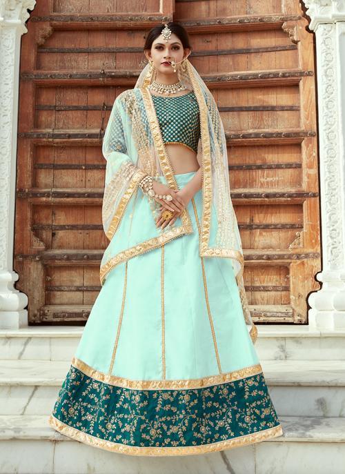 Wedding Wear Sea Green Art Silk Sequins Work Lehenga Choli