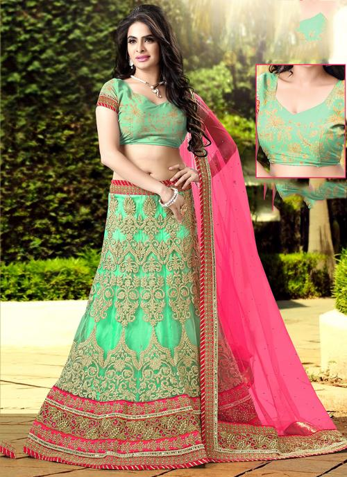 Wedding Wear Sea Green Net Embroidered Work Lehenga Choli