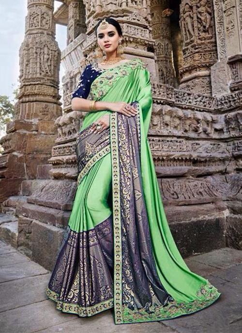 Wedding Wear Sea Green Silk Border Work Saree